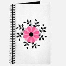 Pink and Black Daisy Flower Journal