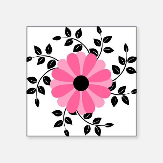 Pink and Black Daisy Flower Sticker