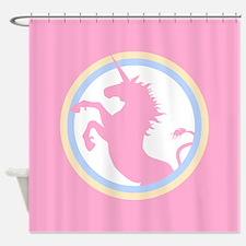 Retro Pink Unicorn Shower Curtain