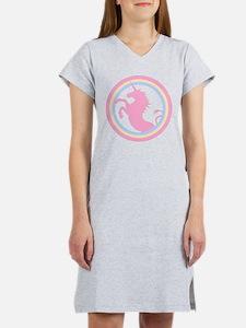 Retro Pink Unicorn Women's Nightshirt