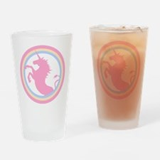 Retro Pink Unicorn Drinking Glass