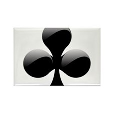 Black Club Playing Card Symbol Rectangle Magnet