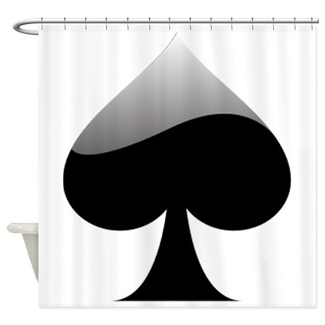 Black spade playing card symbol shower curtain by istudiodesigns