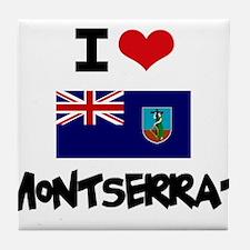 I HEART MONTSERRAT FLAG Tile Coaster