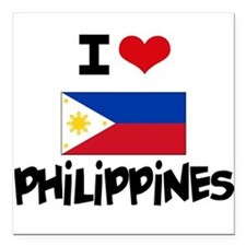 "I HEART PHILIPPINES FLAG Square Car Magnet 3"" x 3"""