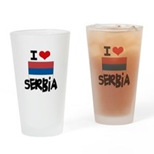 I HEART SERBIA FLAG Drinking Glass