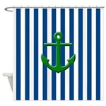 Green Anchor Blue Stripes Shower Curtain