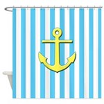 Aqua And White Stripes With Anchor Shower Curtain