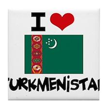I HEART TURKMENISTAN FLAG Tile Coaster