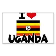 I HEART UGANDA FLAG Decal
