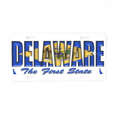 Delaware Flag First Drk Aluminum License Plate