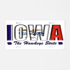 Iowa Flag Hawkeye Drk Aluminum License Plate