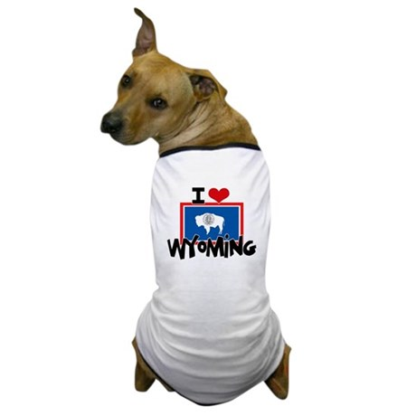 I HEART WYOMING FLAG Dog T-Shirt