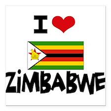 """I HEART ZIMBABWE FLAG Square Car Magnet 3"""" x 3"""""""