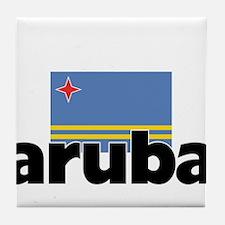I HEART ARUBA FLAG Tile Coaster
