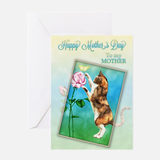 Mothers day card with a playful cat Greeting Card