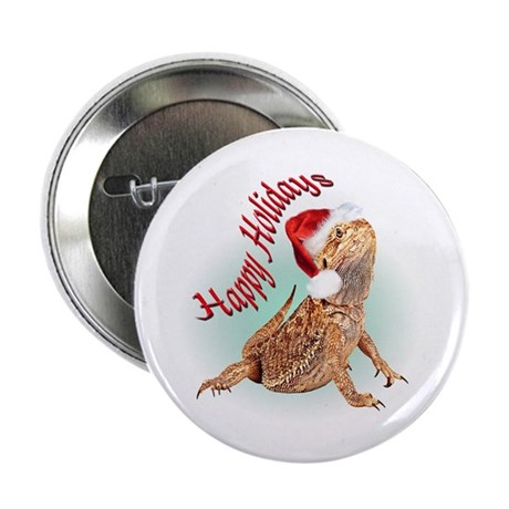 "Bearded Dragon Santa 2.25"" Button (100 pack)"