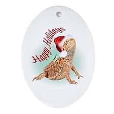 Bearded Dragon Santa Oval Ornament