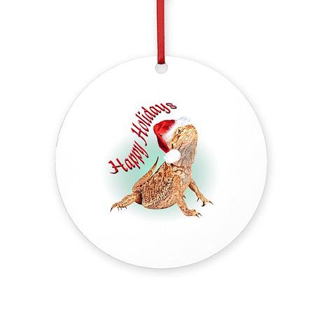 Bearded Dragon Santa Ornament (Round)