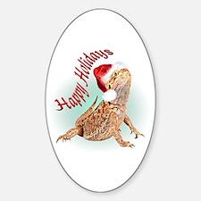 Bearded Dragon Santa Oval Decal