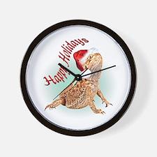 Bearded Dragon Santa Wall Clock