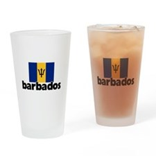 I HEART BARBADOS FLAG Drinking Glass