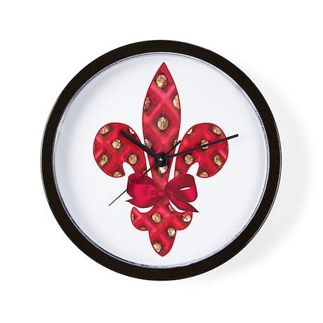 Red Holiday Fleur de lis Wall Clock