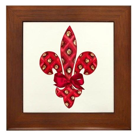 Red Holiday Fleur de lis Framed Tile