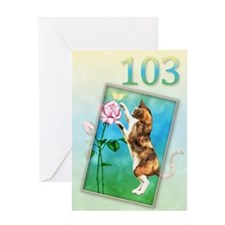 103rd Birthday card with a cat Greeting Card