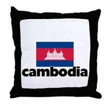 I HEART CAMBODIA FLAG Throw Pillow