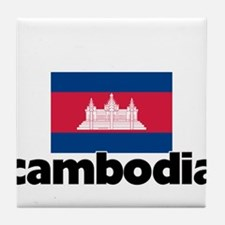 I HEART CAMBODIA FLAG Tile Coaster