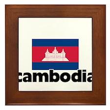 I HEART CAMBODIA FLAG Framed Tile