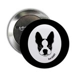 SAD HENRY BOSTON TERRIER DOG Button