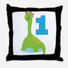 Dinosaur Babys 1st Birthday Throw Pillow