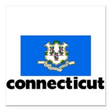 "I HEART CONNECTICUT FLAG Square Car Magnet 3"" x 3"""