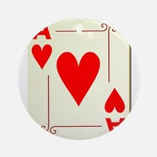 Ace of Hearts Playing Card Ornament (Round)