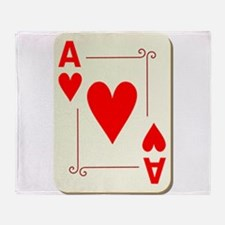 Ace of Hearts Playing Card Throw Blanket