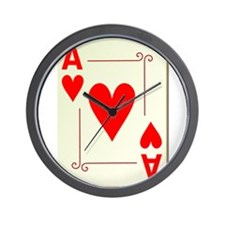 Ace of Hearts Playing Card Wall Clock