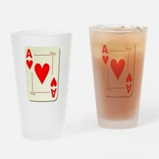 Ace of Hearts Playing Card Drinking Glass