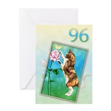96th Birthday card with a cat Greeting Card