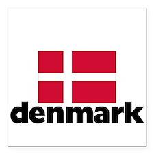 """I HEART DENMARK FLAG Square Car Magnet 3"""" x 3"""""""