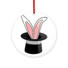 Rabbit In Magician Hat Ornament (Round)