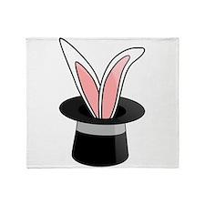 Rabbit In Magician Hat Throw Blanket