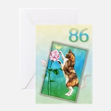 86th Birthday card with a cat Greeting Card