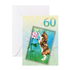 60th Birthday card with a cat Greeting Card