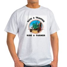 Save a Tractor, Ride a Farmer Ash Grey T-Shirt