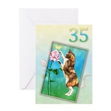 35th Birthday card with a cat Greeting Card