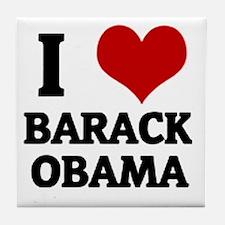 I Love Barack Obama Tile Coaster