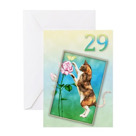 29th Birthday card with a cat Greeting Card