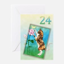 24th Birthday card with a cat Greeting Card